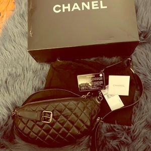 Chanel black quilted fanny pack
